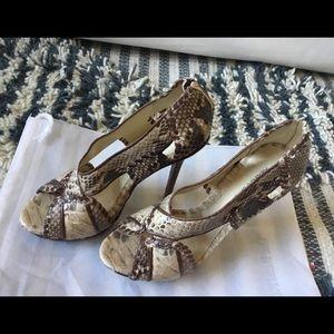 Python Alexandre Birman sandals w/leather trim 8.5